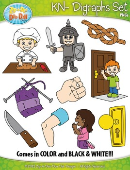 KN- Digraphs Words Clipart Set — Includes 20 Graphics!