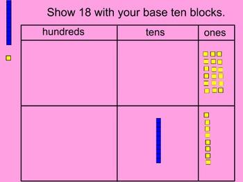 K.NBT.1 Representing 11-19 with Base Ten Blocks, Promethean flipchart