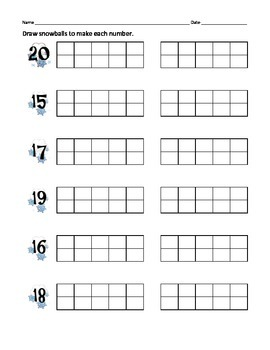 K.NBT.1 and 1.NBT.2b Teen Numbers with snowflakes and frames