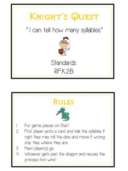 KNIGHT'S QUEST Syllables - ELA First Grade Folder Game - Word Work Center