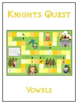 KNIGHT'S QUEST Vowels- ELA First Grade Folder Game - Word Work Center