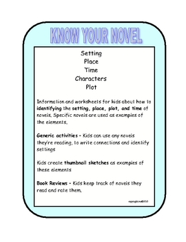 KNOW YOUR NOVEL ACTIVITIES