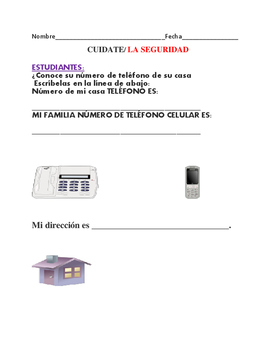 KNOW YOUR PHONE NUMBER & ADDRESS: BILINGUAL/ ENGLISH/SPANISH: K-2
