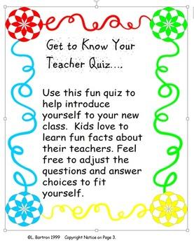 KNOW YOUR TEACHER QUIZ