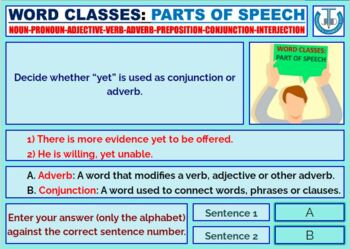 PARTS OF SPEECH: LESSON AND TASK CARDS