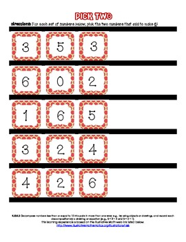 K.OA.3 Pick Two- Decomposing Numbers from 6-10