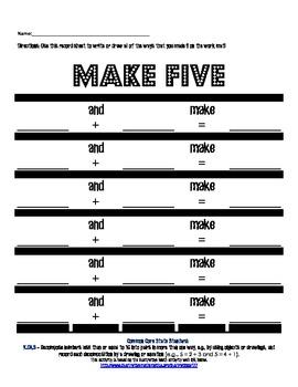 K.OA.3 Make Five