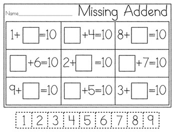 K.OA.4 Missing Addend Practice