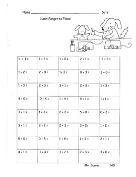 Addition Sums to 5 Fluency Practice Drill Dental Health Theme