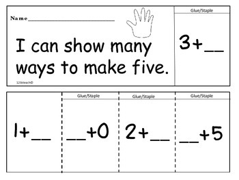 K.OA.A.5  Ways to Make Five, Addition & Subtraction,Flip Flap Books