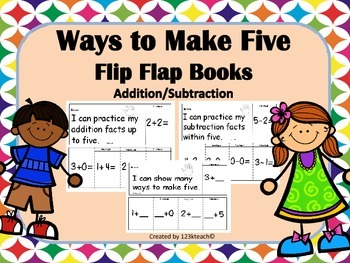 K.OA.A.5  Ways to Make Five, Addition & Subtraction,Flip F