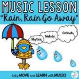 "KODALY SONG ""Rain, Rain, Go Away"" 10 Lessons- Melody Ostinato Writing Printables"