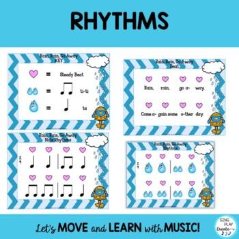 "KODALY SONG ""Rain, Rain, Go Away"" 10 Lessons- Melody Ostinato Writing Printables"