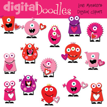 KPM Love Monsters Clip Art