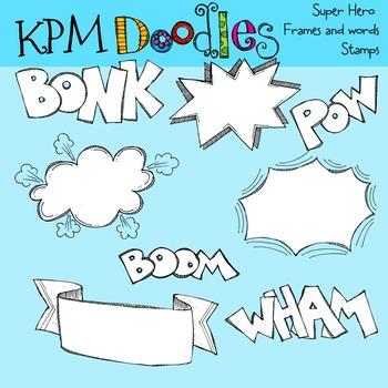 KPM Super Heros Frames and words Black Line