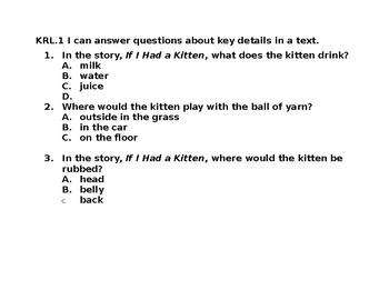 KRL1 Read Aloud and Question Stems