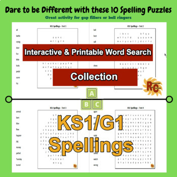 Grade 1 Spellings Collection of  Word Searches