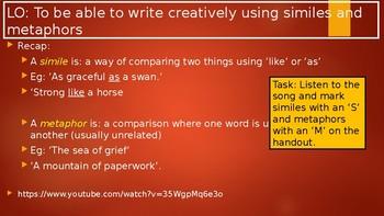 Similes In Songs & Worksheets | Teachers Pay Teachers