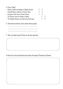 KS2 Ancient Greece and Rome assessment
