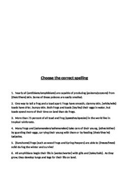 KS2/KS3 Science-based VCOP/Comprehension worksheets - Amphibians