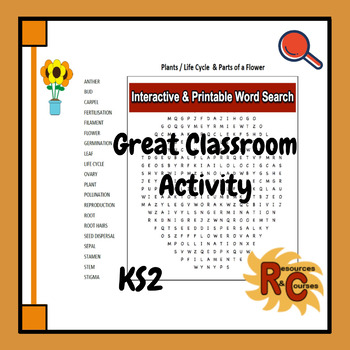 KS2 Science - Life Processes & Living Things - Plants & Flowers Word Search
