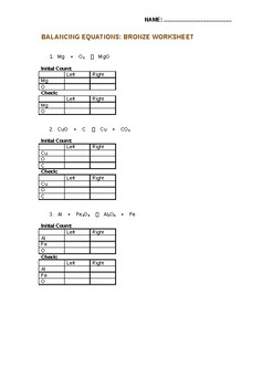 KS3/KS4 Chemistry Science Balancing Equations Bronze/Silver/Gold ...