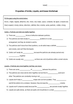 KS3/KS4 Chemistry Science States of Matter worksheet and answers