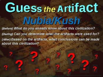 """KUSH & NUBIA """"Guess the artifact"""" game: engaging PPT with picture, clue & answer"""