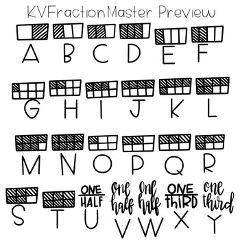 KVFractionMaster Font (Fraction Circles, Tiles, Words, etc.)