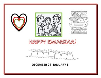 KWANZAA: A CLASSROOM SIGN, COVER PAGE FOR A REPORT, OR COLORING PAGE