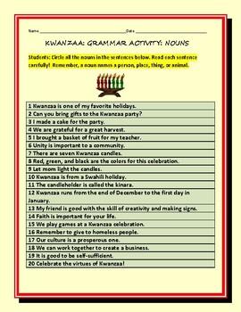 KWANZAA: A GRAMMAR ACTIVITY: NOUNS, GRS. 3-6, ESL
