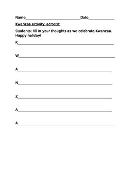 KWANZAA ACROSTIC ACTIVITY
