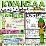 KWANZAA EDITABLE FLIPBOOK: INFORMATIONAL REPORT WRITING RESEARCH TEMPLATES