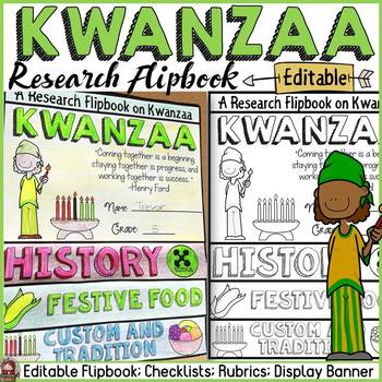KWANZAA EDITABLE FLIPBOOK: INFORMATIONAL REPORT WRITING RESEARCH TEMPLATES