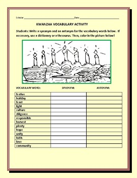 KWANZAA VOCABULARY ACTIVITY: GRS. 3-6