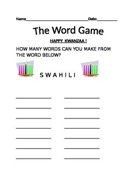 KWANZAA WORD GAME