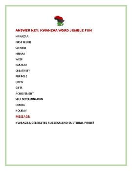 KWANZAA WORD JUMBLE FUN CHALLENGE!