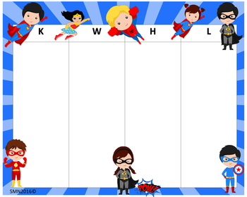 KWHL Table Super Heroes 30x24