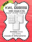 KWL 24 Charts adapted for Special Education Holidays Seasons Life Skills