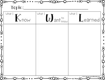 photograph regarding Free Printable Kwl Chart called KWL Chart FREEBIE!