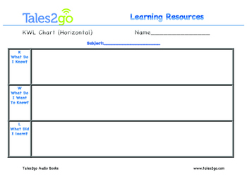 KWL Chart- Horizontal- Use with Tales2Go Titles