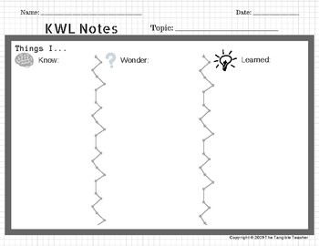 KWL Chart-- With and Without Writing Lines!