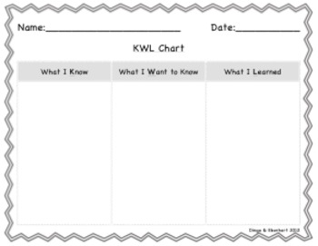 KWL Chart for All Subjects