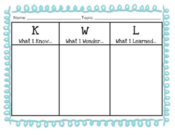 KWL Chart for Any Topic