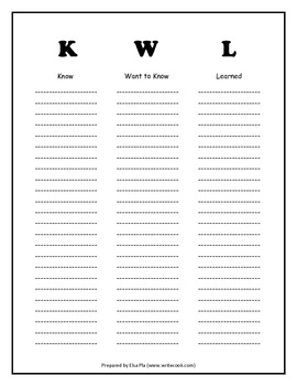 KWL Chart (in black & white)