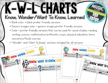 KWL Charts - Any subject