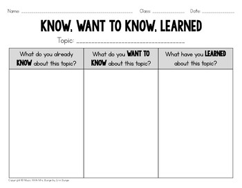 KWL Charts FREEBIE - Any subject