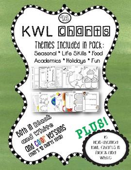 KWL Charts Themes 46 in black and white AND color plus 16 bonus charts