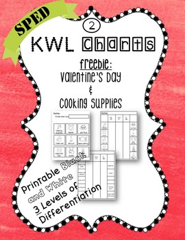KWL Charts adapted for Special Education Freebie