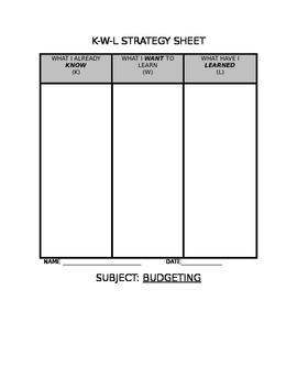 KWL Reading Chart